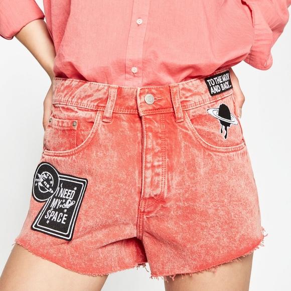 07dcfe35e8 Zara Shorts | New Red Denim Jean Patches Space | Poshmark